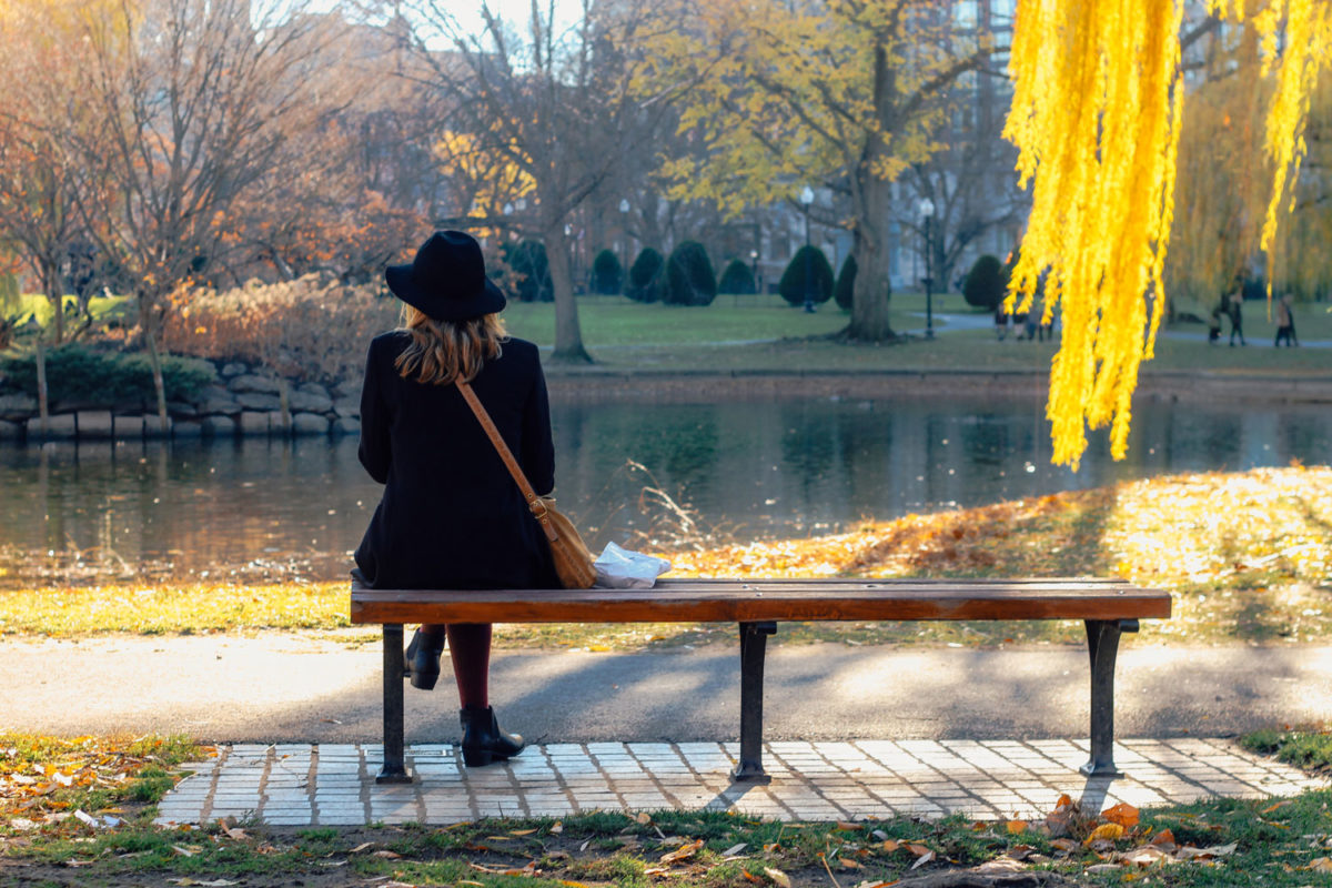 Woman in hat sitting on bench facing away from camera looking out over a pond and park